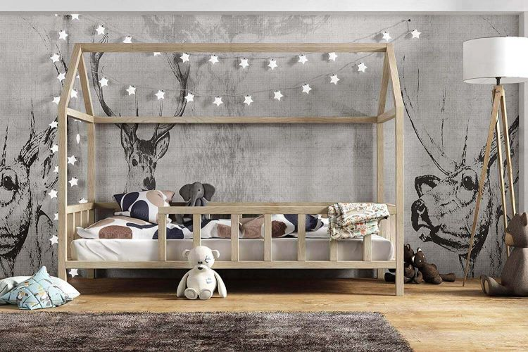 Kinderbett Kinder hausbett 90x200 mit Rausfallschutz - Holz Bett